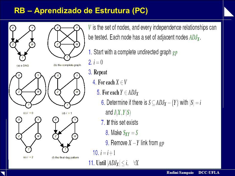 Rudini Sampaio DCC-UFLA RB – Aprendizado de Estrutura (PC)  Direcionamento das Arestas  Observações  Requer ordem dos vértices  Inicia com grafo completo e depois enxuga a estrutura