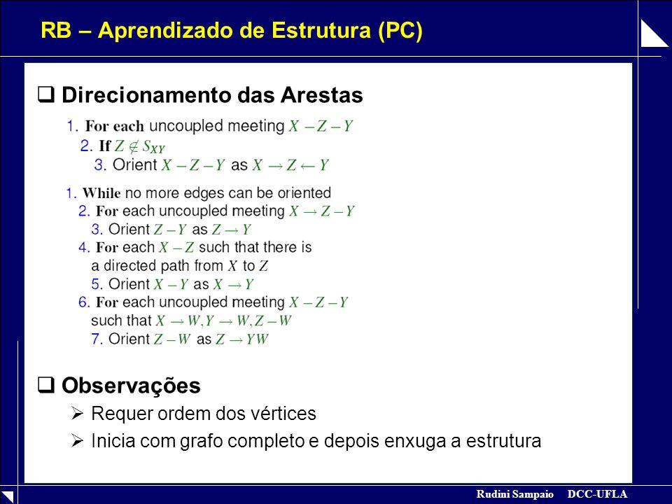 Rudini Sampaio DCC-UFLA RB – Aprendizado de Estrutura (PC)  Direcionamento das Arestas  Observações  Requer ordem dos vértices  Inicia com grafo c