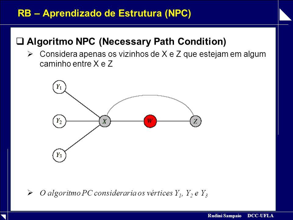 Rudini Sampaio DCC-UFLA RB – Aprendizado de Estrutura (BPC)  Algoritmo BPC (Best Path Condition)  Procura um conjunto mínimo de vértices que separam X e Z  Algoritmo para Corte Mínimo: ACID & CAMPOS, 1996  O algoritmo NPC consideraria os vértices Y 1, Y 2 e Y 3
