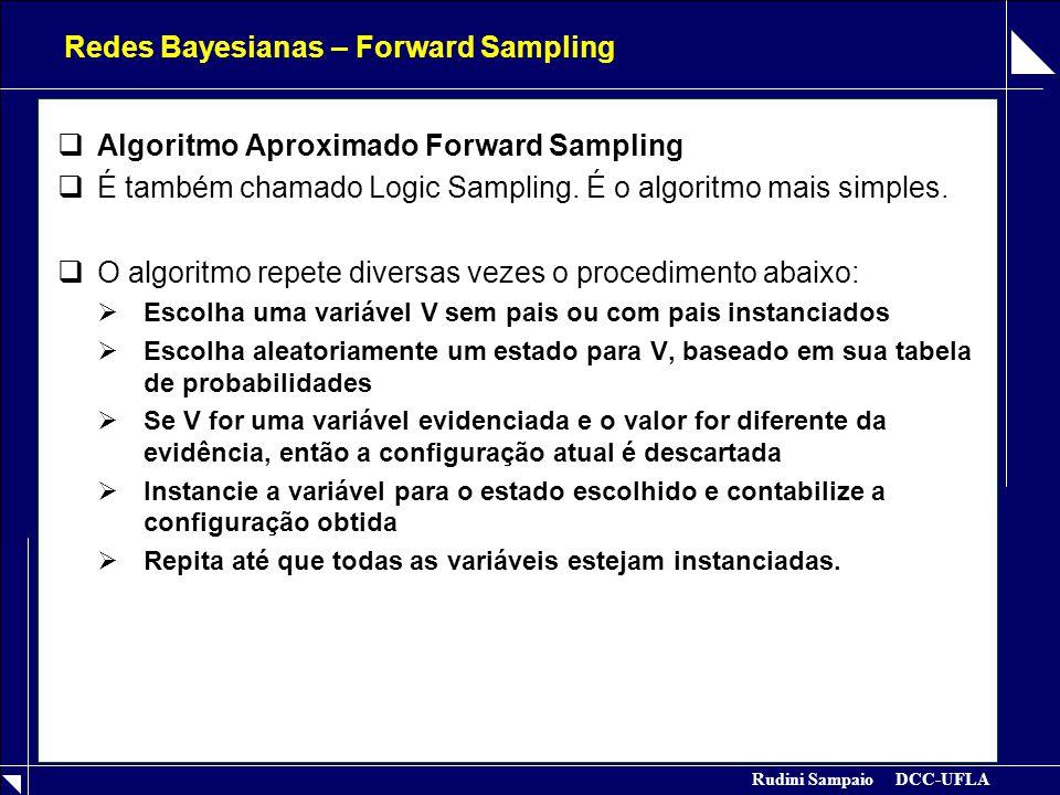 Rudini Sampaio DCC-UFLA Redes Bayesianas – Forward Sampling  Algoritmo Aproximado Forward Sampling  É também chamado Logic Sampling.