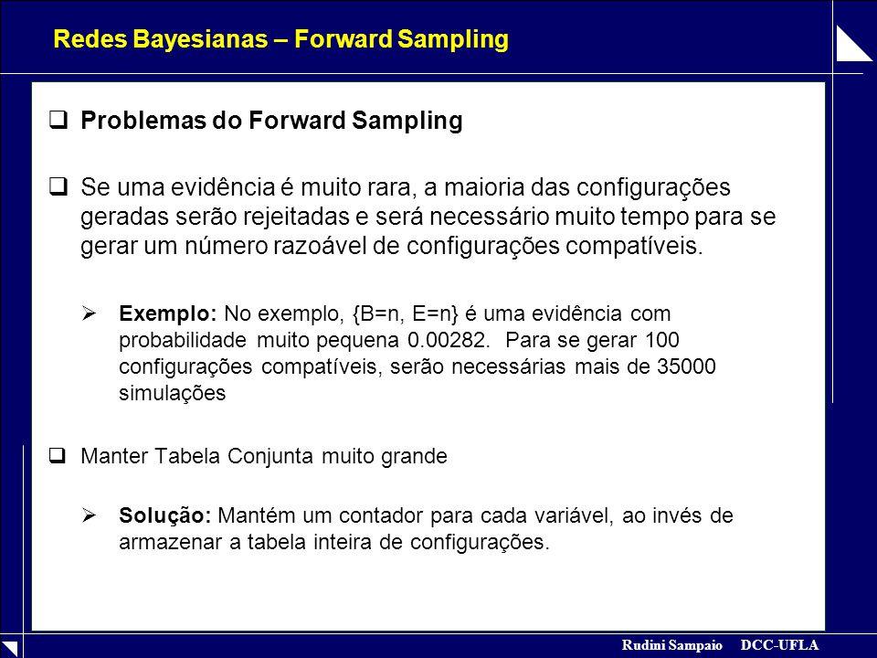 Rudini Sampaio DCC-UFLA Redes Bayesianas – Forward Sampling  Problemas do Forward Sampling  Se uma evidência é muito rara, a maioria das configurações geradas serão rejeitadas e será necessário muito tempo para se gerar um número razoável de configurações compatíveis.