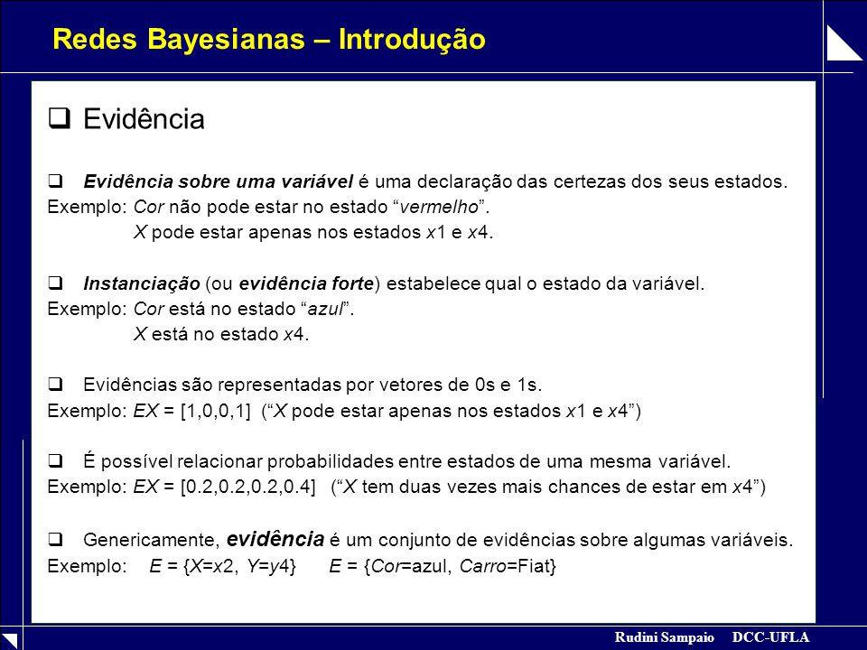 Rudini Sampaio DCC-UFLA Redes Bayesianas – Introdução  Evidência  Evidência sobre uma variável é uma declaração das certezas dos seus estados. Exemp