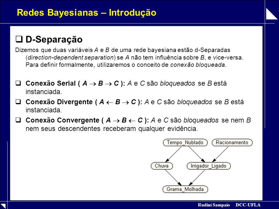 Rudini Sampaio DCC-UFLA Redes Bayesianas – Introdução  D-Separação Dizemos que duas variáveis A e B de uma rede bayesiana estão d-Separadas (directio