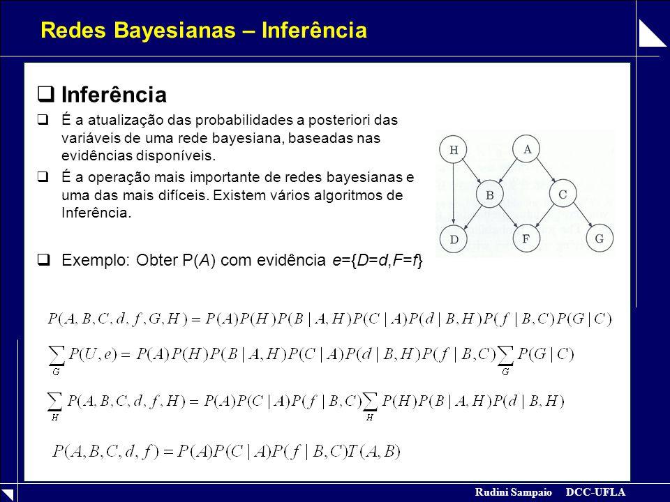 Rudini Sampaio DCC-UFLA Redes Bayesianas – Inferência  Inferência  É a atualização das probabilidades a posteriori das variáveis de uma rede bayesia
