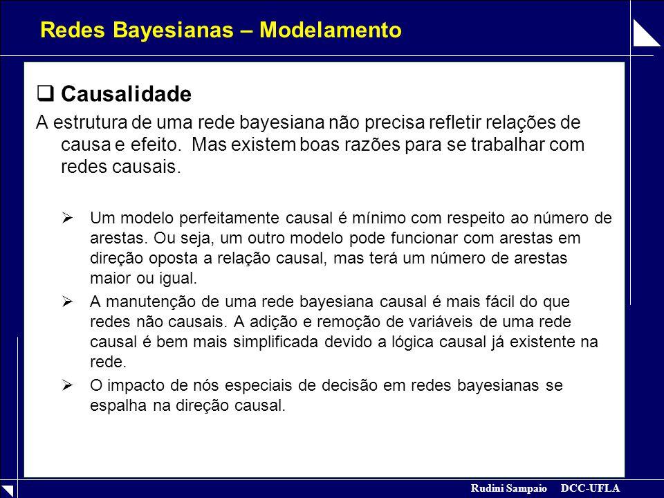 Rudini Sampaio DCC-UFLA Redes Bayesianas – Modelamento  Causalidade A estrutura de uma rede bayesiana não precisa refletir relações de causa e efeito