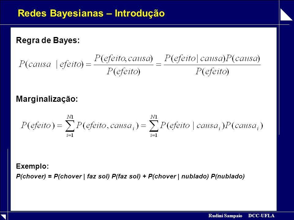 Rudini Sampaio DCC-UFLA Redes Bayesianas – Introdução Regra de Bayes: Marginalização: Exemplo: P(chover) = P(chover | faz sol) P(faz sol) + P(chover |