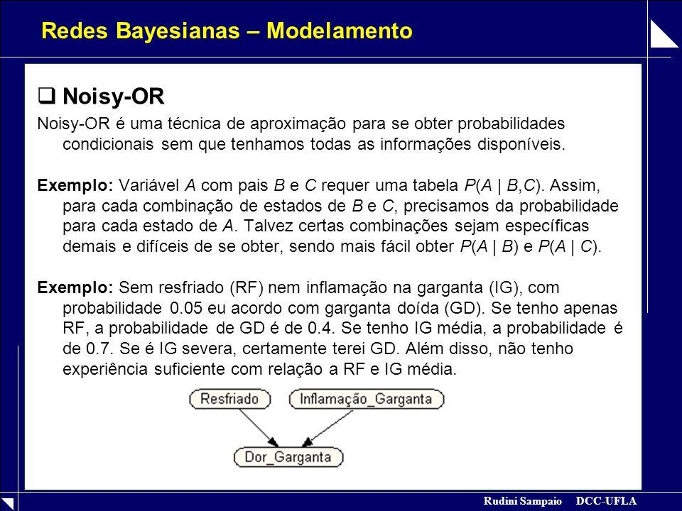Rudini Sampaio DCC-UFLA Redes Bayesianas – Modelamento  Noisy-OR Noisy-OR é uma técnica de aproximação para se obter probabilidades condicionais sem