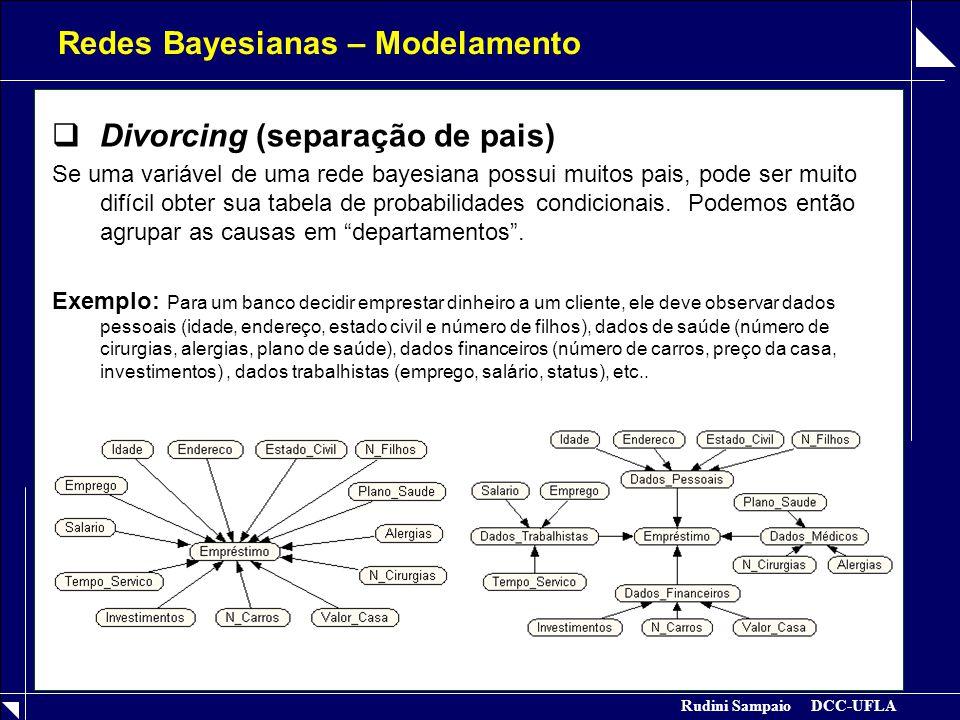 Rudini Sampaio DCC-UFLA Redes Bayesianas – Modelamento  Divorcing (separação de pais) Se uma variável de uma rede bayesiana possui muitos pais, pode