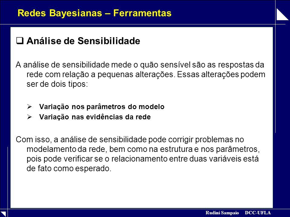 Rudini Sampaio DCC-UFLA Redes Bayesianas – Ferramentas  Análise de Sensibilidade A análise de sensibilidade mede o quão sensível são as respostas da