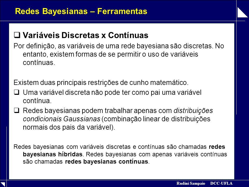 Rudini Sampaio DCC-UFLA Redes Bayesianas – Ferramentas  Variáveis Discretas x Contínuas Por definição, as variáveis de uma rede bayesiana são discret