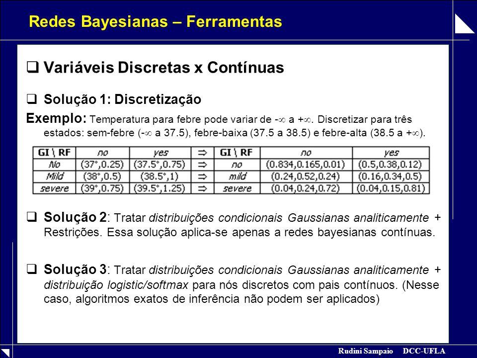 Rudini Sampaio DCC-UFLA Redes Bayesianas – Ferramentas  Variáveis Discretas x Contínuas  Solução 1: Discretização Exemplo: Temperatura para febre po
