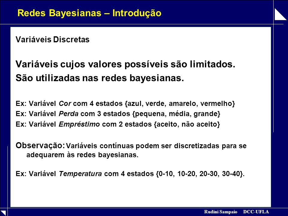 Rudini Sampaio DCC-UFLA Redes Bayesianas – Introdução Variáveis Discretas Variáveis cujos valores possíveis são limitados. São utilizadas nas redes ba