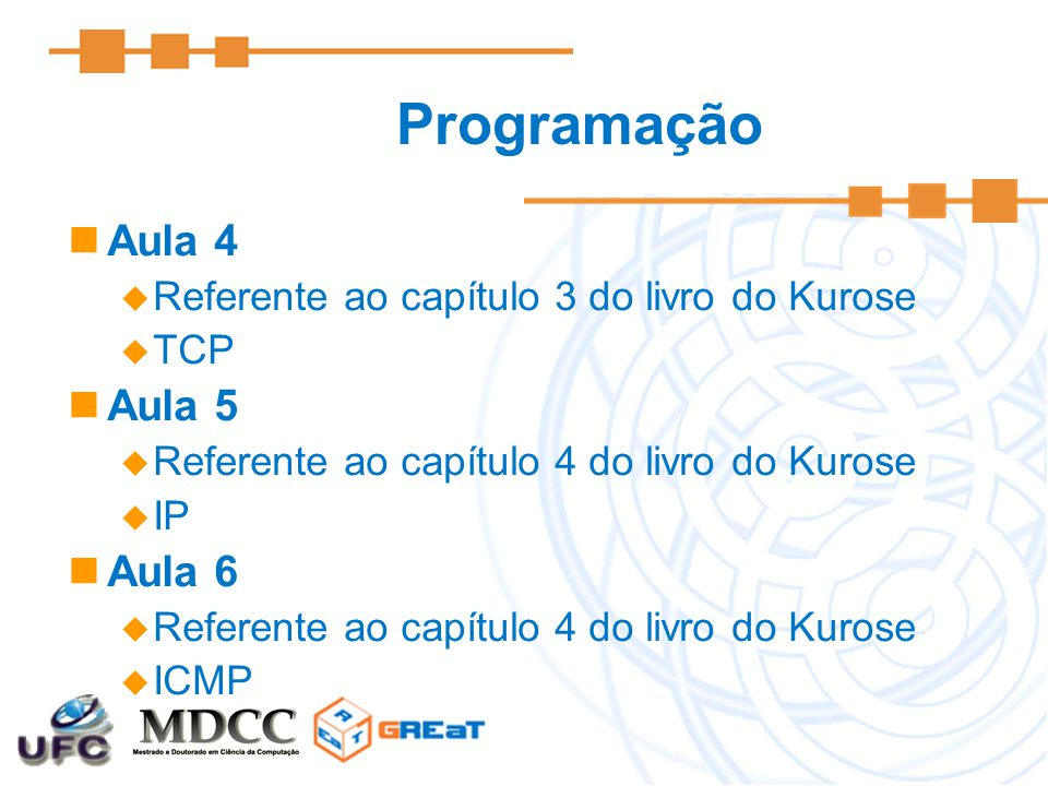 Aula 7  Referente ao capítulo 5 do livro do Kurose  Ethernet e ARP Aula 8  Referente ao capítulo 5 do livro do Kurose  DHCP Aula 9  Referente ao capítulo 6 do livro do Kurose  802.11 Programação