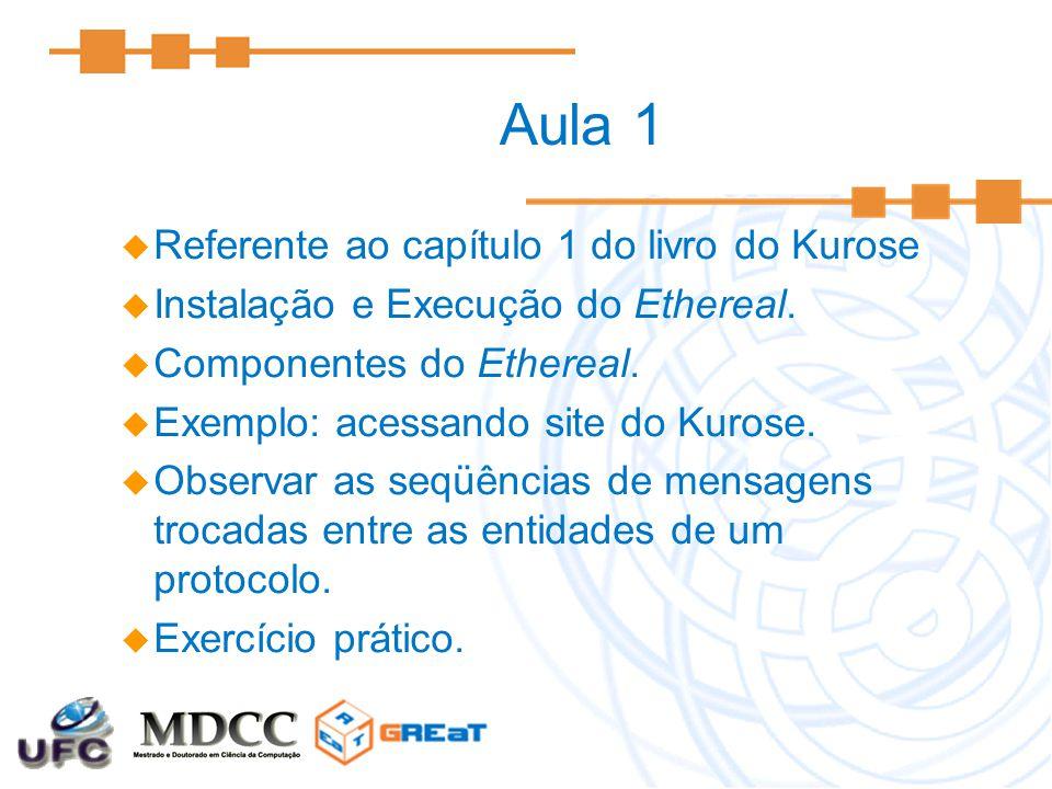 Aula 1  Referente ao capítulo 1 do livro do Kurose  Instalação e Execução do Ethereal.  Componentes do Ethereal.  Exemplo: acessando site do Kuros