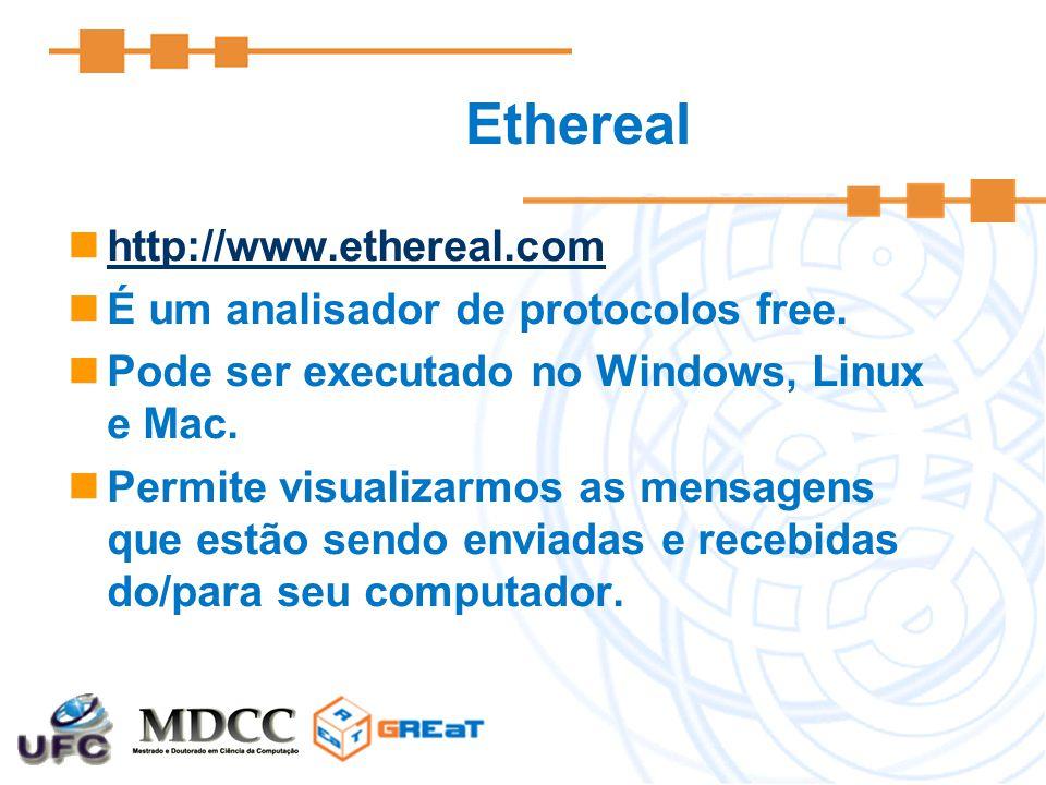 Ethereal http://www.ethereal.com É um analisador de protocolos free. Pode ser executado no Windows, Linux e Mac. Permite visualizarmos as mensagens qu