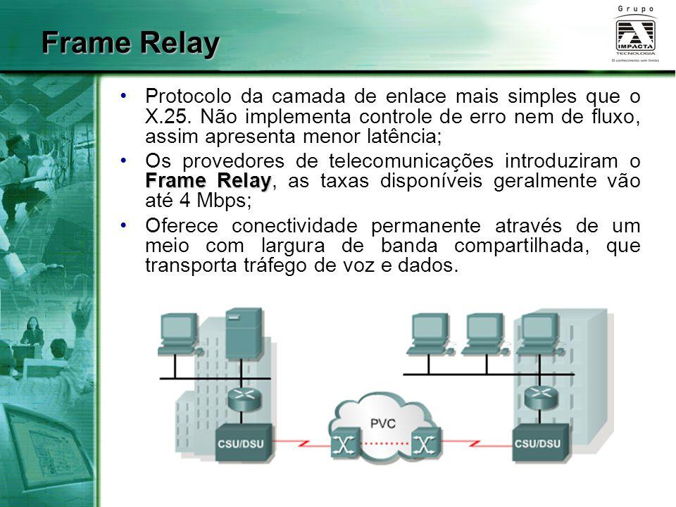 Protocolo da camada de enlace mais simples que o X.25. Não implementa controle de erro nem de fluxo, assim apresenta menor latência; Frame RelayOs pro