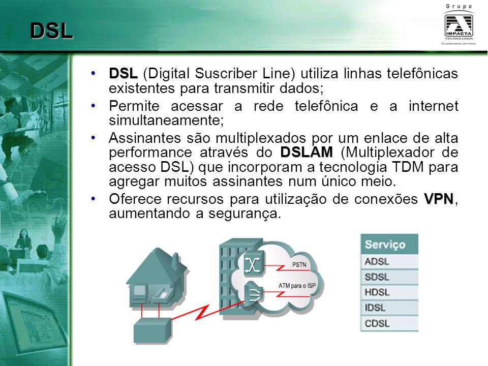 DSLDSL (Digital Suscriber Line) utiliza linhas telefônicas existentes para transmitir dados; Permite acessar a rede telefônica e a internet simultanea