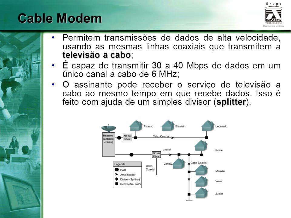 televisão a caboPermitem transmissões de dados de alta velocidade, usando as mesmas linhas coaxiais que transmitem a televisão a cabo; É capaz de tran