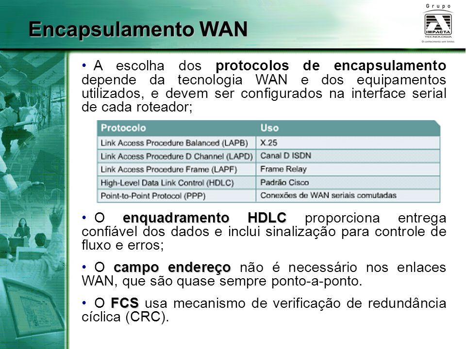 A escolha dos protocolos de encapsulamento depende da tecnologia WAN e dos equipamentos utilizados, e devem ser configurados na interface serial de ca