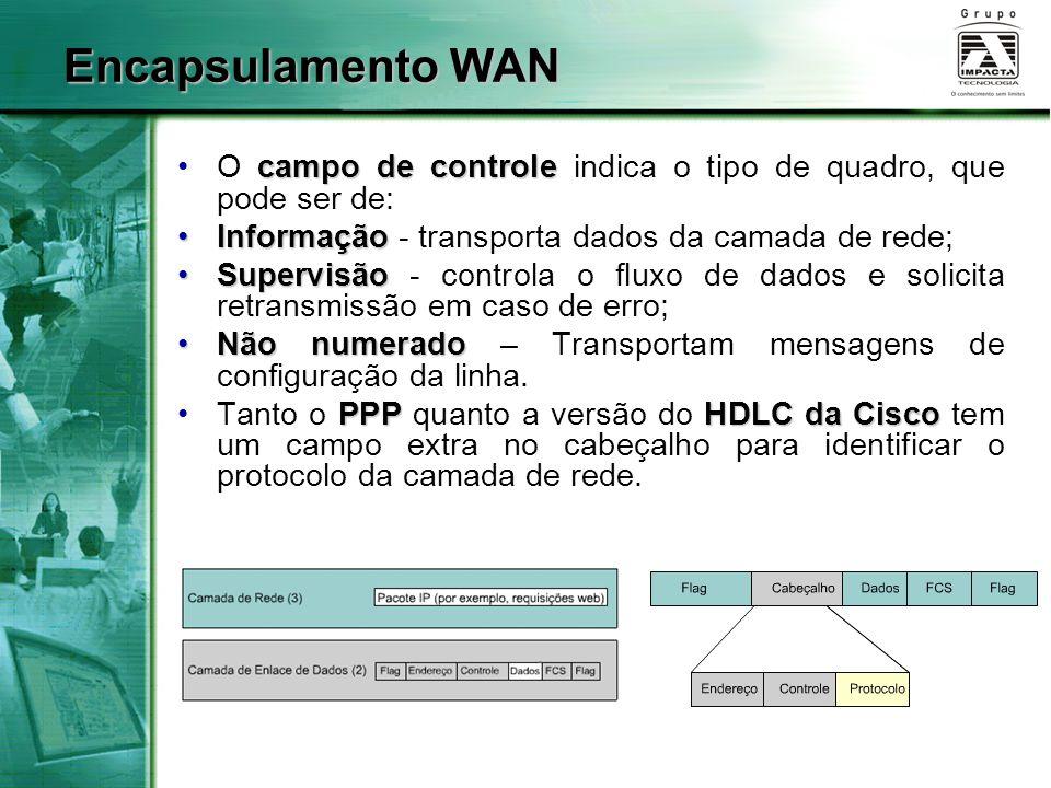 campo de controleO campo de controle indica o tipo de quadro, que pode ser de: InformaçãoInformação - transporta dados da camada de rede; SupervisãoSu