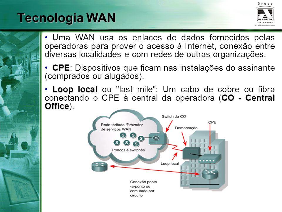DTEDTE (Data terminal Equipment): dispositivo do cliente que passa os dados para o DCE; DCEDCE (Data Communications Equipment): fornece ao DTE uma interface que o conecta à nuvem WAN; DTE/DCEA interface DTE/DCE usa vários protocolos de camada física, tais como HSSI (High-Speed Serial Interface) e V.35.