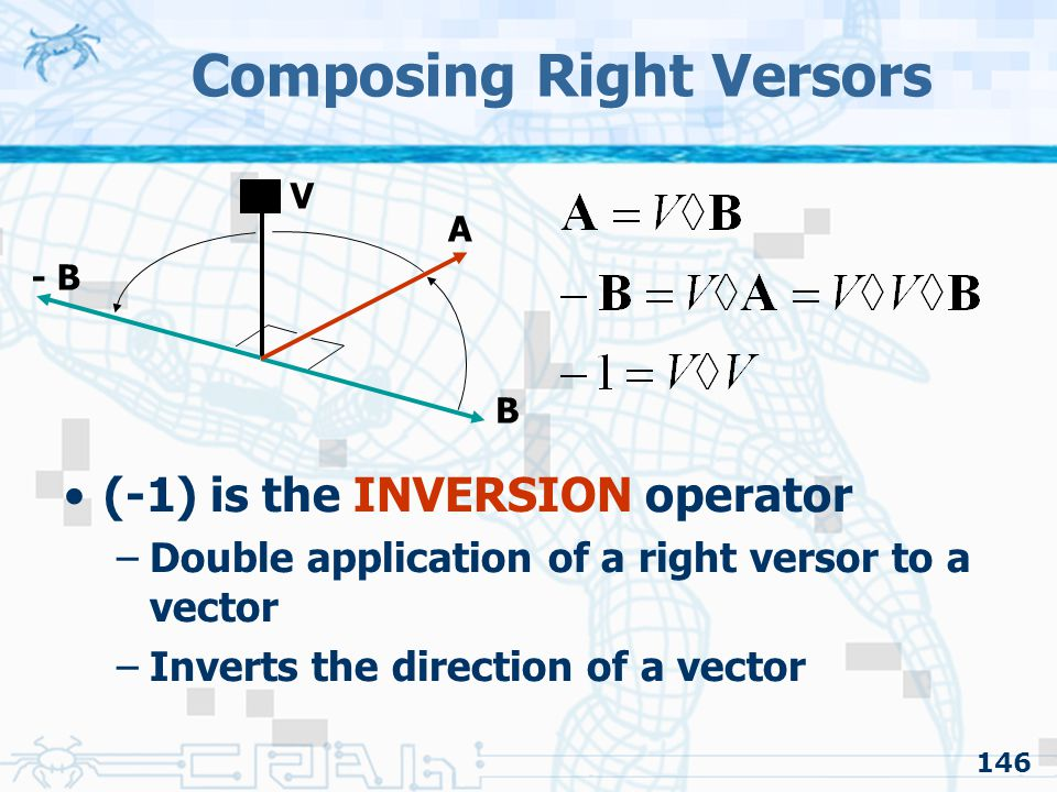 146 Composing Right Versors (-1) is the INVERSION operator –Double application of a right versor to a vector –Inverts the direction of a vector A B V - B