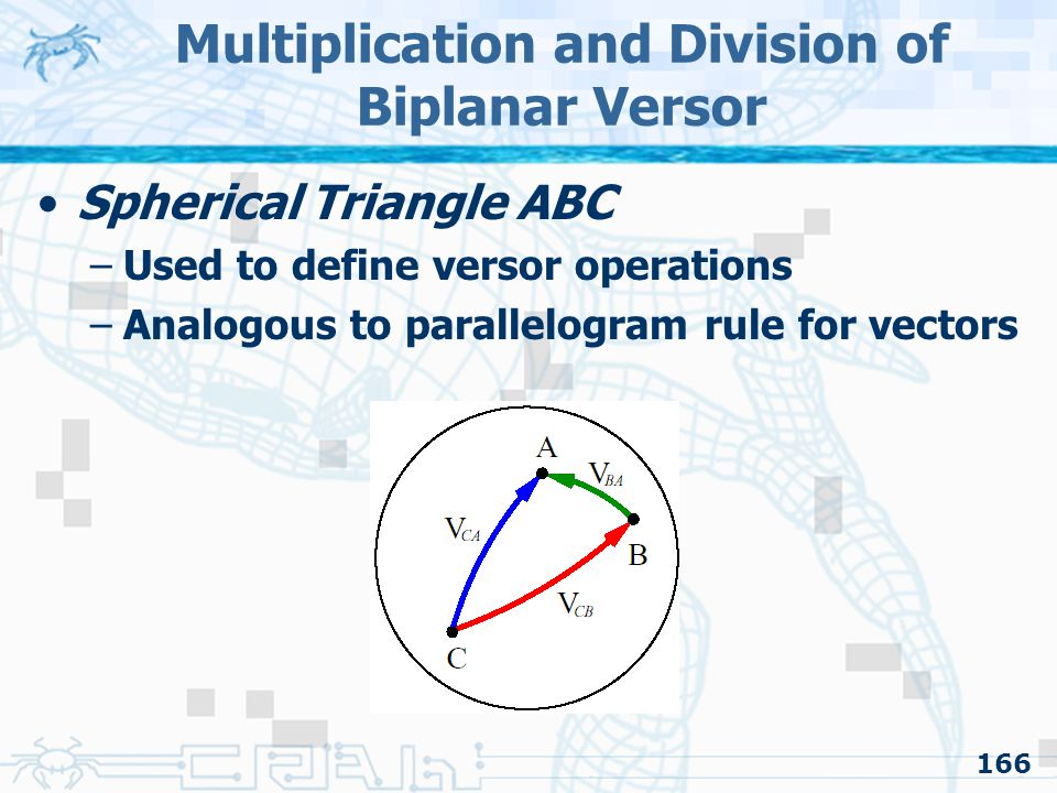 166 Multiplication and Division of Biplanar Versor Spherical Triangle ABC –Used to define versor operations –Analogous to parallelogram rule for vectors