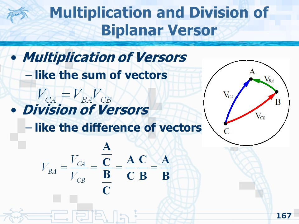 167 Multiplication and Division of Biplanar Versor Multiplication of Versors –like the sum of vectors Division of Versors –like the difference of vectors