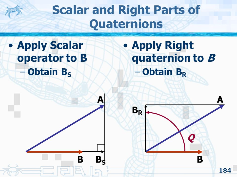 184 Scalar and Right Parts of Quaternions Apply Scalar operator to B –Obtain B S Apply Right quaternion to B –Obtain B R B A BSBS B A Q BRBR