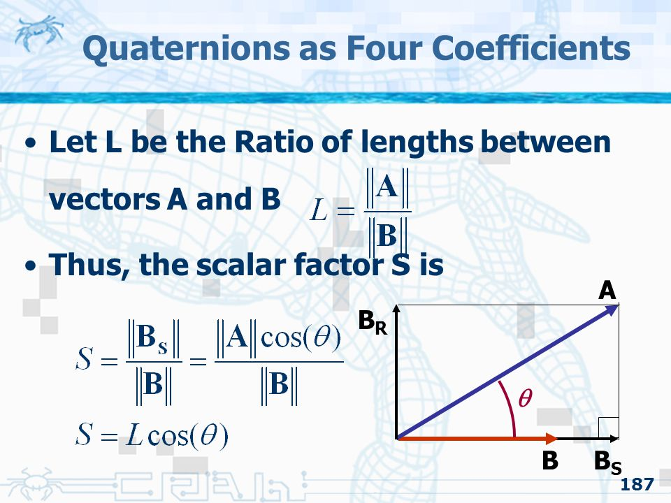 187 Quaternions as Four Coefficients Let L be the Ratio of lengths between vectors A and B Thus, the scalar factor S is B A  BSBS BRBR