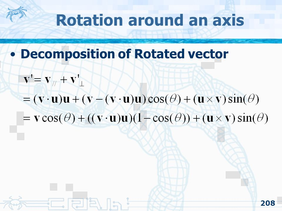 208 Decomposition of Rotated vector Rotation around an axis