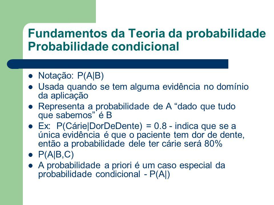 Fundamentos da Teoria da probabilidade Probabilidade condicional Notação: P(A|B) Usada quando se tem alguma evidência no domínio da aplicação Represen