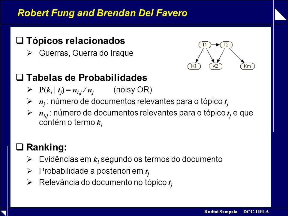 Rudini Sampaio DCC-UFLA Robert Fung and Brendan Del Favero  Tópicos relacionados  Guerras, Guerra do Iraque  Tabelas de Probabilidades  P(k i | t j ) = n i,j / n j (noisy OR)  n j : número de documentos relevantes para o tópico t j  n i,j : número de documentos relevantes para o tópico t j e que contém o termo k i  Ranking:  Evidências em k i segundo os termos do documento  Probabilidade a posteriori em t j  Relevância do documento no tópico t j
