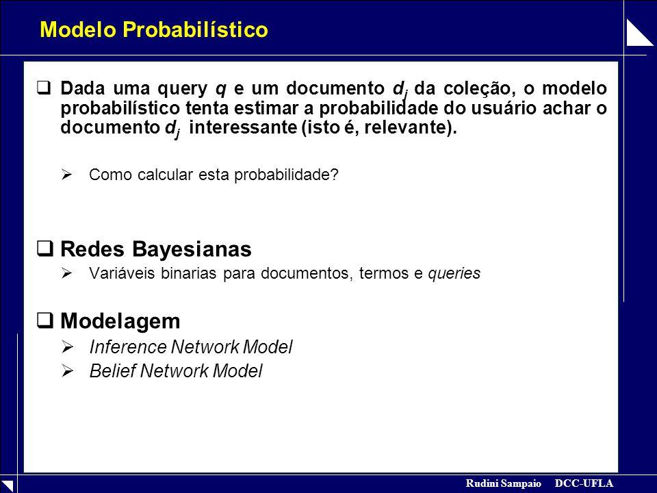 Rudini Sampaio DCC-UFLA Modelo Probabilístico  Dada uma query q e um documento d j da coleção, o modelo probabilístico tenta estimar a probabilidade do usuário achar o documento d j interessante (isto é, relevante).
