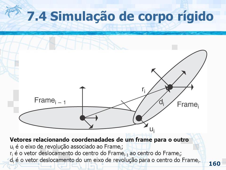 160 7.4 Simulação de corpo rígido Vetores relacionando coordenadades de um frame para o outro u i é o eixo de revolução associado ao Frame i ; r i é o vetor deslocamento do centro do Frame i-1 ao centro do Frame i ; d i é o vetor deslocamento do um eixo de revolução para o centro do Frame i.