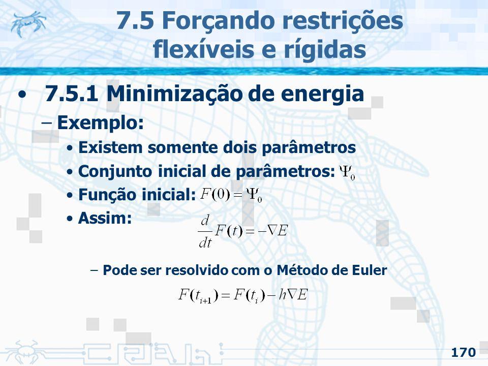 170 7.5 Forçando restrições flexíveis e rígidas 7.5.1 Minimização de energia –Exemplo: Existem somente dois parâmetros Conjunto inicial de parâmetros: Função inicial: Assim: –Pode ser resolvido com o Método de Euler