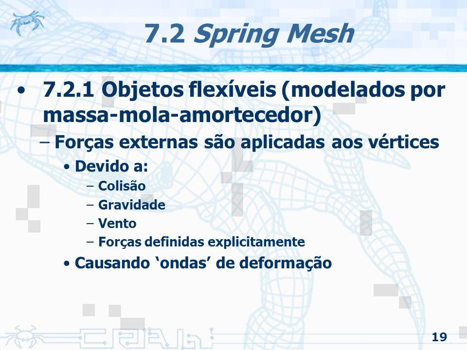 19 7.2 Spring Mesh 7.2.1 Objetos flexíveis (modelados por massa-mola-amortecedor) –Forças externas são aplicadas aos vértices Devido a: –Colisão –Gravidade –Vento –Forças definidas explicitamente Causando 'ondas' de deformação