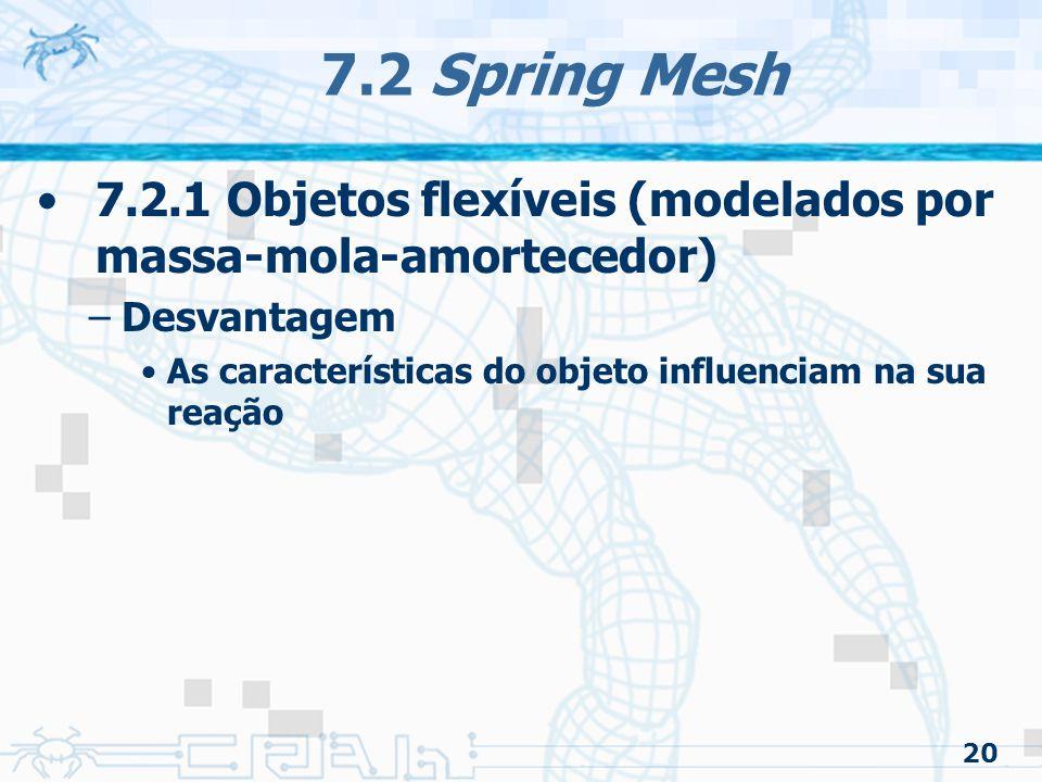 20 7.2 Spring Mesh 7.2.1 Objetos flexíveis (modelados por massa-mola-amortecedor) –Desvantagem As características do objeto influenciam na sua reação