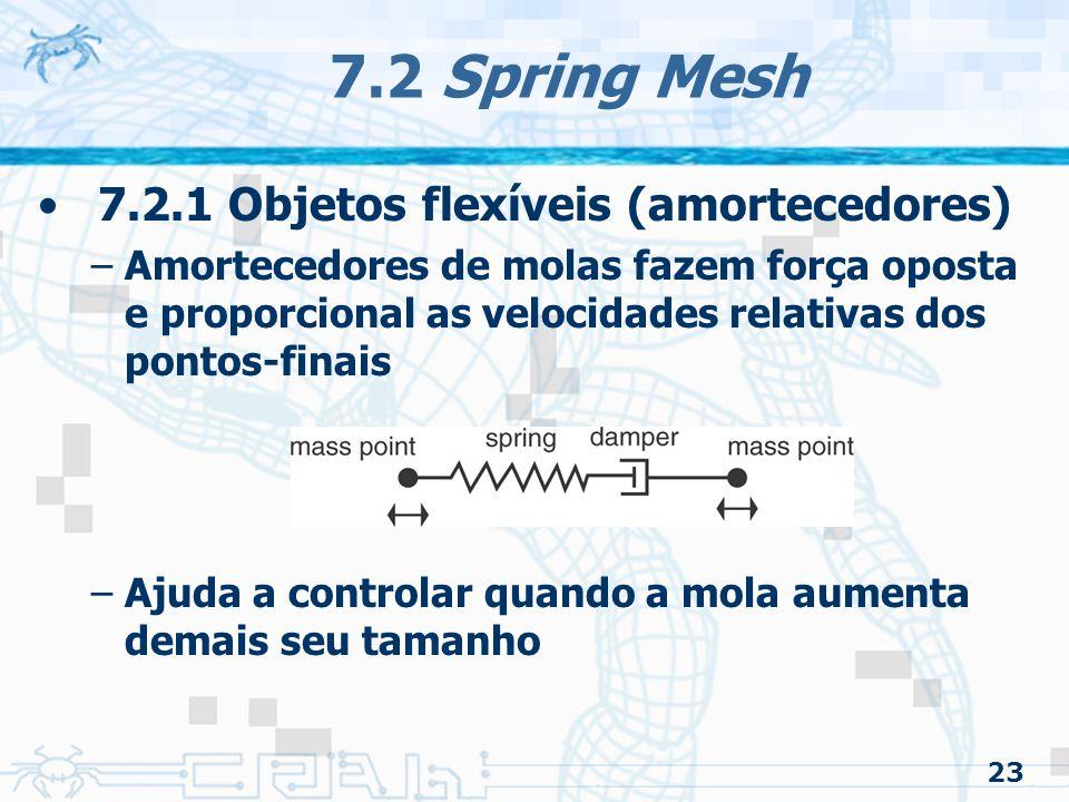 23 7.2 Spring Mesh 7.2.1 Objetos flexíveis (amortecedores) –Amortecedores de molas fazem força oposta e proporcional as velocidades relativas dos pontos-finais –Ajuda a controlar quando a mola aumenta demais seu tamanho