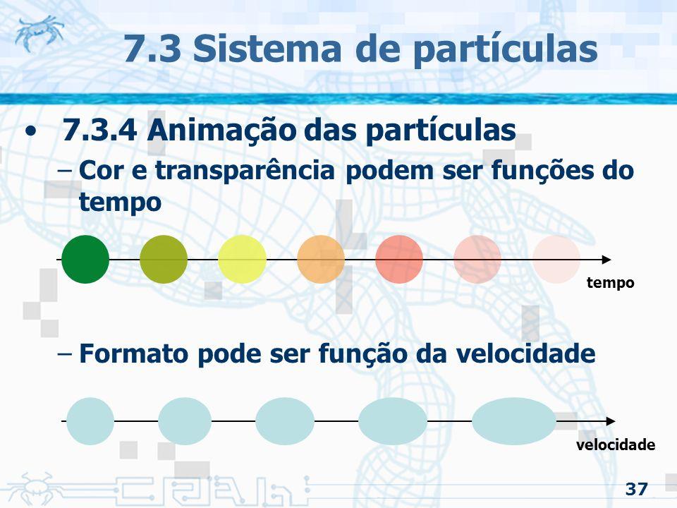 37 7.3 Sistema de partículas 7.3.4 Animação das partículas –Cor e transparência podem ser funções do tempo –Formato pode ser função da velocidade velocidade tempo