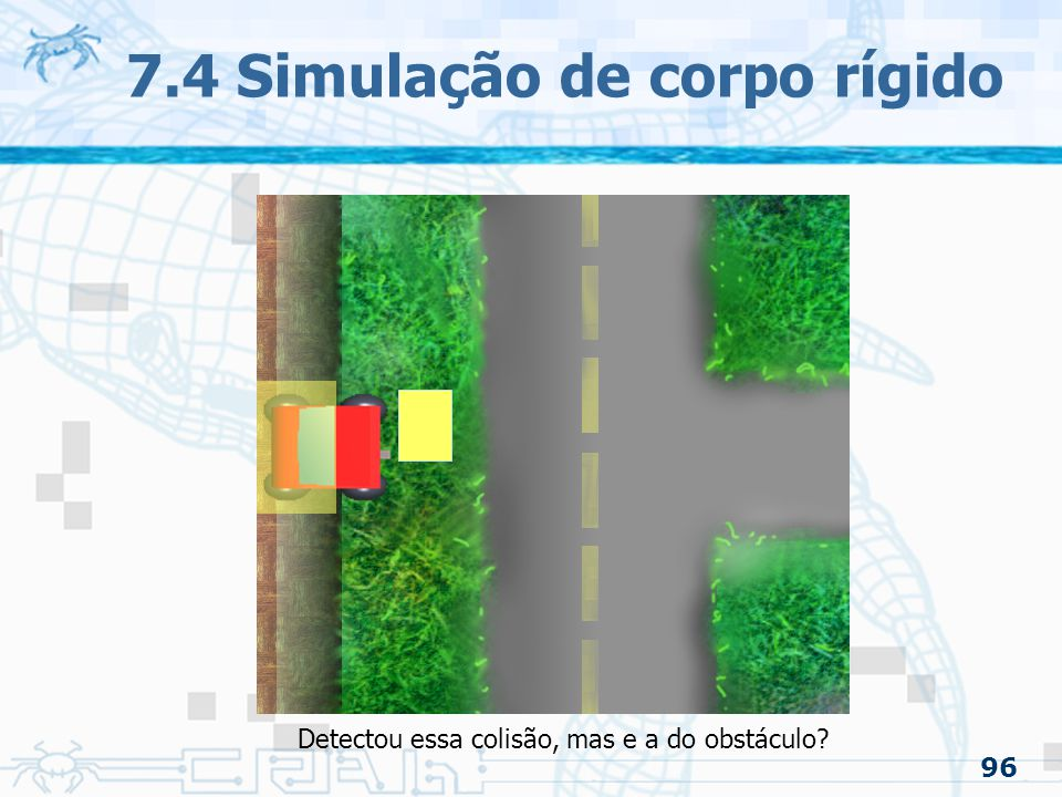 96 7.4 Simulação de corpo rígido Detectou essa colisão, mas e a do obstáculo?