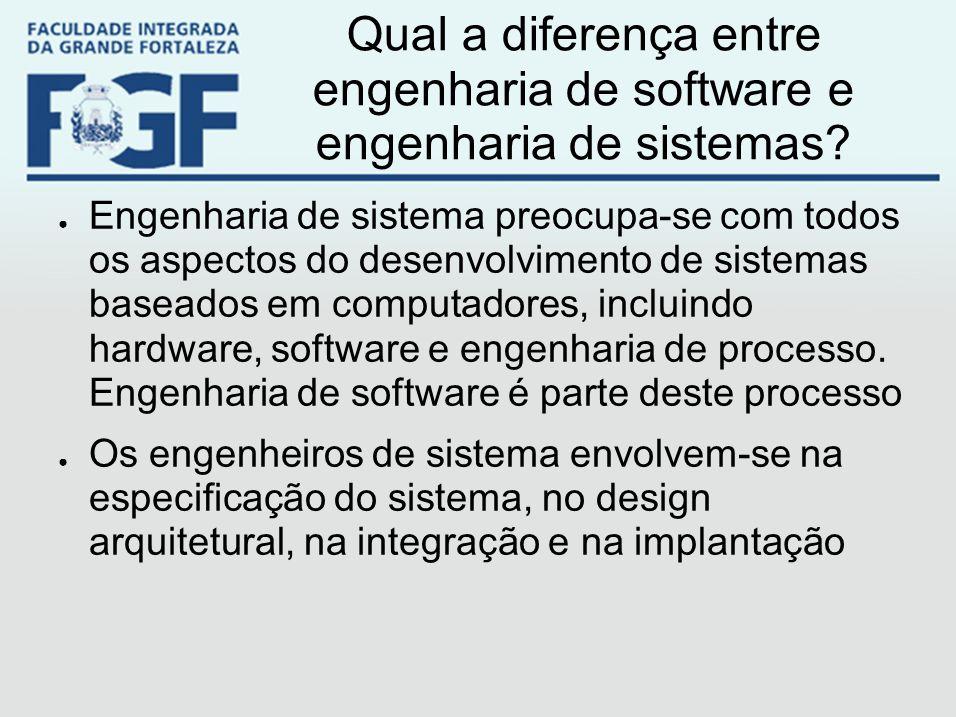 Qual a diferença entre engenharia de software e engenharia de sistemas? ● Engenharia de sistema preocupa-se com todos os aspectos do desenvolvimento d