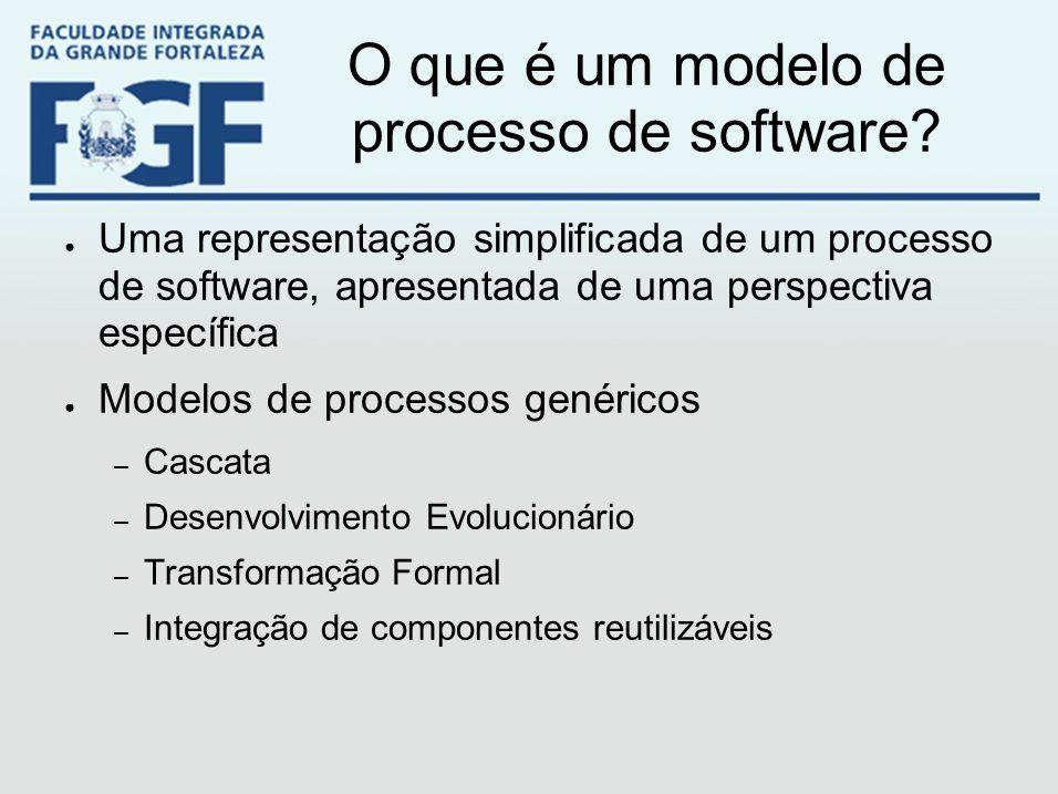 O que é um modelo de processo de software? ● Uma representação simplificada de um processo de software, apresentada de uma perspectiva específica ● Mo