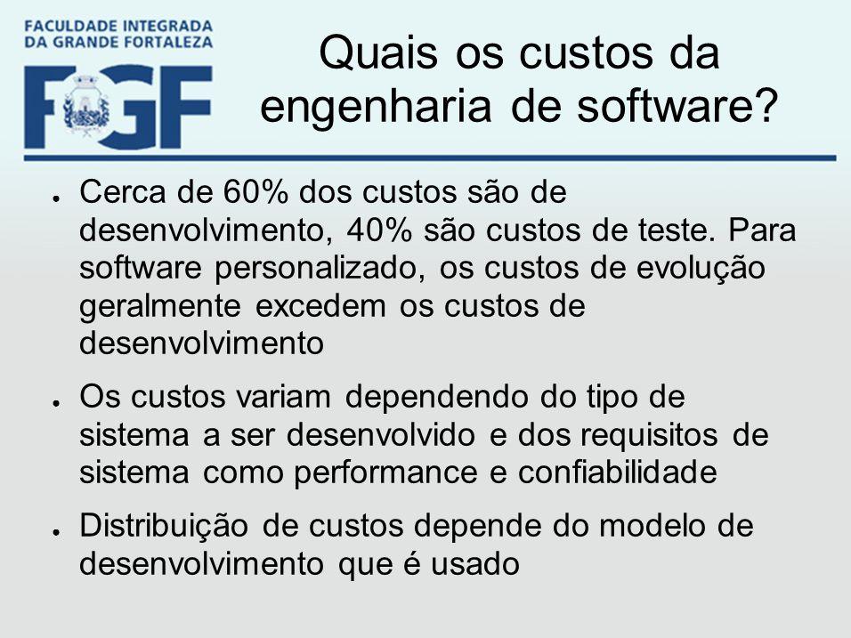 Quais os custos da engenharia de software? ● Cerca de 60% dos custos são de desenvolvimento, 40% são custos de teste. Para software personalizado, os