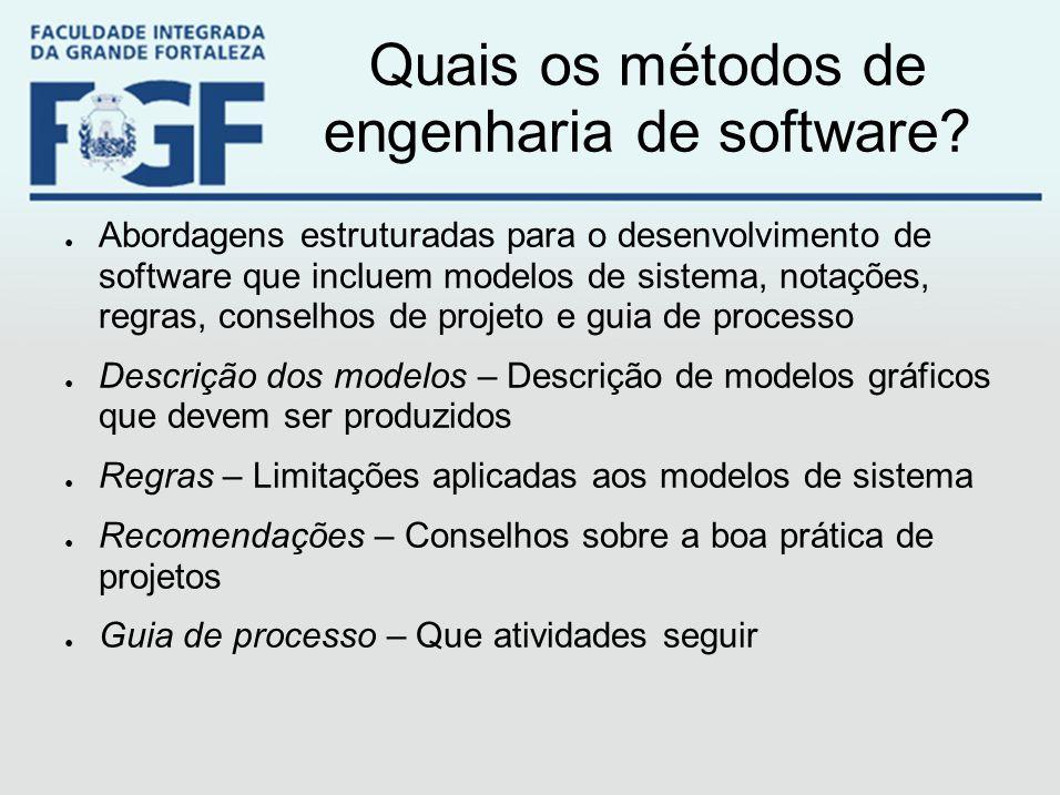 Quais os métodos de engenharia de software? ● Abordagens estruturadas para o desenvolvimento de software que incluem modelos de sistema, notações, reg
