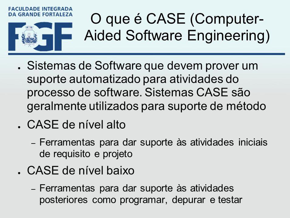 O que é CASE (Computer- Aided Software Engineering) ● Sistemas de Software que devem prover um suporte automatizado para atividades do processo de sof