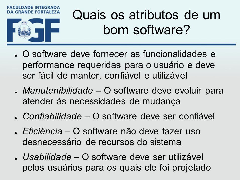Quais os atributos de um bom software? ● O software deve fornecer as funcionalidades e performance requeridas para o usuário e deve ser fácil de mante