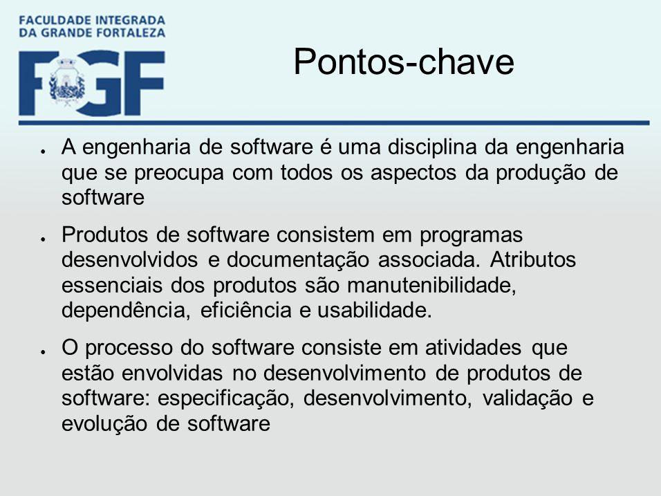 Pontos-chave ● A engenharia de software é uma disciplina da engenharia que se preocupa com todos os aspectos da produção de software ● Produtos de sof