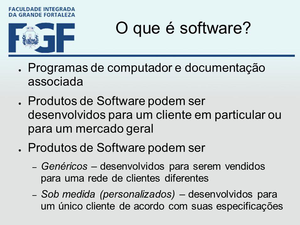 O que é software? ● Programas de computador e documentação associada ● Produtos de Software podem ser desenvolvidos para um cliente em particular ou p