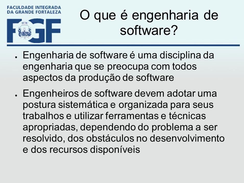 O que é engenharia de software? ● Engenharia de software é uma disciplina da engenharia que se preocupa com todos aspectos da produção de software ● E